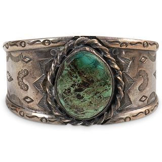 Mexican Sterling Silver and Turquoise Cuff