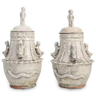 Pair Of Antique Crackle Glaze Ginger Jars