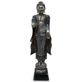 Thai Wood mirrored Buddha Statue