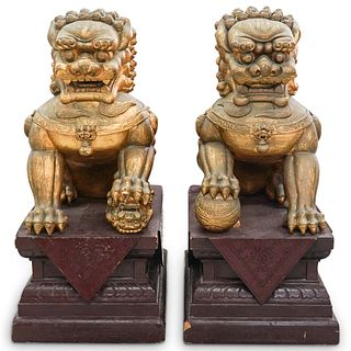 Chinese Gilt Wood Foo Dogs