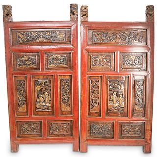 Chinese Carved Wood Wall Panels
