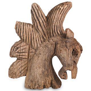 Antique Cork Wood Carved Horse Bust