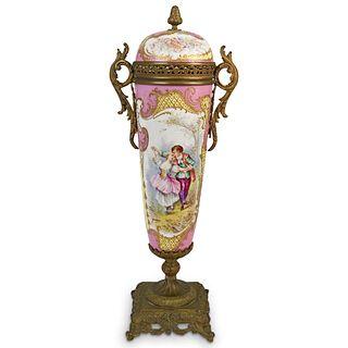 Sevres Bronze Mounted Porcelain Urn