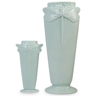 (2 Pc) Art Deco Christofle Dragonfly Porcelain Vases