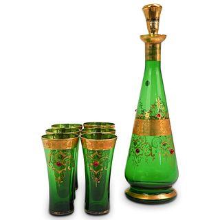 (7 Pc) Bohemian Green Glass Decanter Set