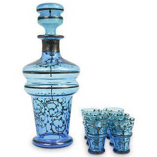(7 Pc) Bohemian Crystal Glass Decanter Set