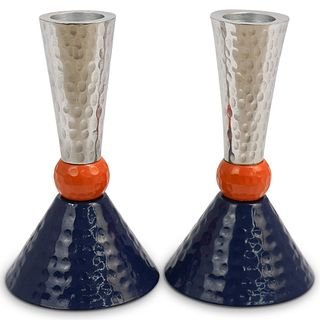 (2 Pc) Mid-Century Italian Candle Holder Set