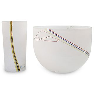 (2 Pc) Kosta Boda Art Glass Set