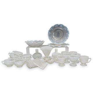 (25 Pc) Fenton Opalescent Hobnail Art Glass Set
