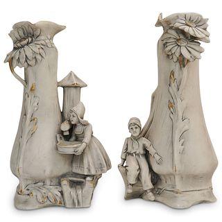 Pair Of Royal Dux Figural Vases