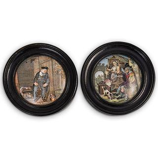(2 Pc) Framed German Porcelain Plaques