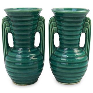 (2 Pc) Art Deco Green Ribbed Ceramic Vases