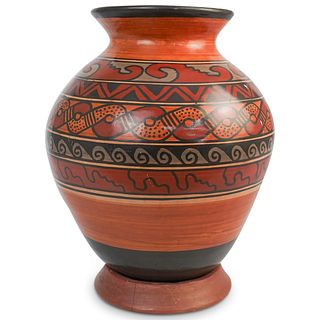 Costa Rican Hand Painted Pottery Vase