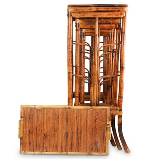 (4 Pc) Nesting Bamboo Stacking Tables w/ Tray