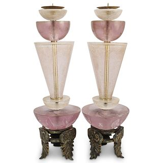 (2 Pc) Van Teal Style Lucite Candle Holders