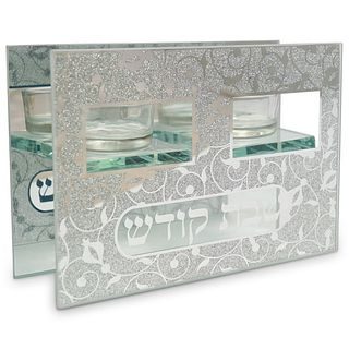 Judaica Mirror and Glass Candle Holder