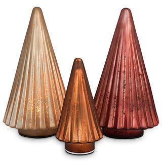 (3 Pc) Multicolor Conical Glass Lamps