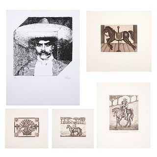Lote de 5 obras gráficas. Sin enmarcar Consta de: a) EUGENIA MARCOS Santiago de Compostela. Firmado y fechado. Otras.