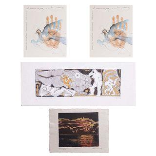 ote de 4 obras. Consta de: a) Liliana Livneh. Manos y palomas. 26 de octubre 1999. Firma impresa. Otras.