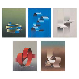 KURT LARISCH Lote de 5 obras Serie Opus I, II, III, IV y V Firmadas al frente Serigrafías P/T y P.T/IV/V Sin enmarcar 60 x 48 cm