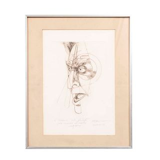GUILLERMO CENICEROS Retrato Siqueiros Firmado a lápiz y fechado Enero 6-86 al frente Grabado sin número de tiraje Enmarcado
