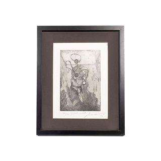 """JOSÉ LUIS CUEVAS """"El poeta maldito"""" Firmado a lápiz y fechado '92 al frente Grabado 26/50 Enmarcado 42 x 34 cm"""