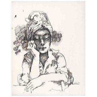 GERARDO CANTÚ, Sin título, Firmada y fechada 81, Tinta sobre papel, 30.5 x 24 cm