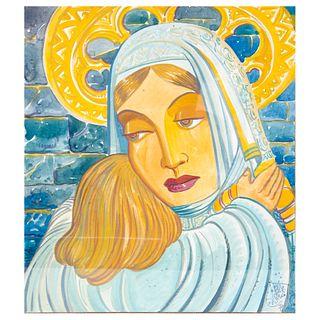 RAMÓN VALDIOSERA. Virgen con el Niño. Firmada y fechada '78. Gouache sobre papel. Enmarcada. 38 x 33 cm