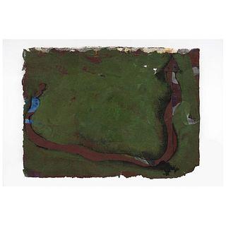 JESÚS URBIETA. Figura en fondo verde. Sin firma. Mixta sobre papel hecho a mano. Con documento de la Galería AG.