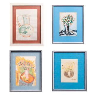 Lote de 4 obras. Firmas sin identificar. Consta de: jarra y 3 bouquets. Tintas sobre papel. Enmarcados.
