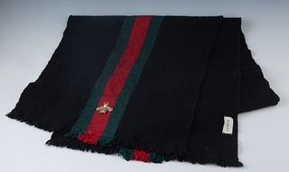 Gucci Black Wool Cashmere Bee Scarf, with green and red web woven detail and a gold embroidered bee on one end, with raw edge trim, L.- 61 in., W.- 13