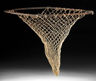 19th C. North American Fishing Net, Iron Hoop
