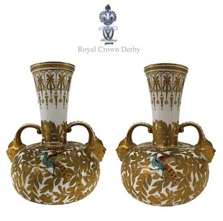 A Pair of Royal Crown Derby Hand Painted Vases, 19th C.