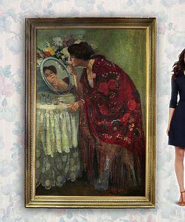 Wilhelm Menzler (1846-1926) Monumental Oil on Canvas