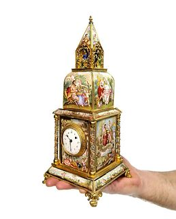 A Large Viennese Enamel Clock