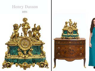 LARGE HENRY DASSON FIGURAL BRONZE & MALACHITE CLOCK