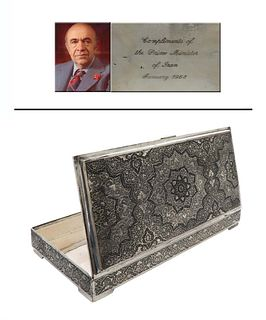Fine Persian silver box, IRAN Prime Minister Compliment