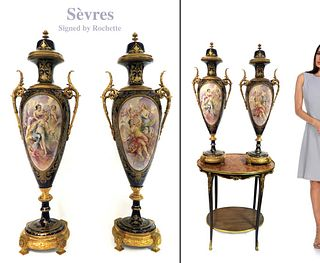 Large 19th C. Pair of Bronze Mounted Sevres Vases