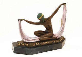 Egyptian Scarf Dancer, Art Deco Bronze Statue, Signed