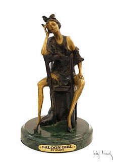 Saloon Girl, After Louis Icart Bronze Sculpture, Signed