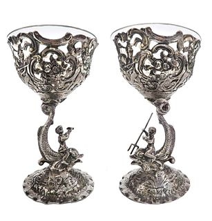 A Pair of German Silver & Crystal Figural Bowls, 19th C