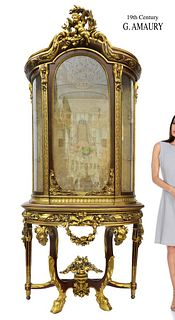 A Monumental 19th C. Figural Vitrine, G. Amaury Signed