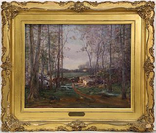 Wooded Clearing oil on canvas by Jules R. Mersfelder