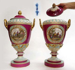 A Pair Of Large Berlin KPM Vases Circa 1860s