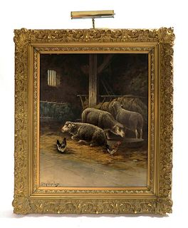 Large 19th C. Oil on Canvas by G. Manhard