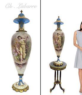 """38"""" Large French Sevres Porcelain Vase by """"LABARRE"""""""