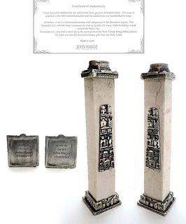 John Hagee Pair of Judaica Jerusalem Stone Candlesticks