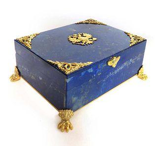 A Russian Bronze Mounted Lapis Jewelry Box