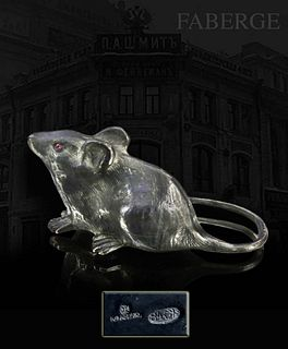 Moscow KARL FABERGE Silver Standing Mouse, Signed