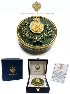 Imperial Faberge Green Guilloche Enamel Box